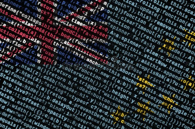 Η σημαία του Τουβαλού απεικονίζεται στην οθόνη με τον κώδικα προγράμματος Η έννοια της σύγχρονων τεχνολογίας και της ανάπτυξης πε στοκ εικόνες
