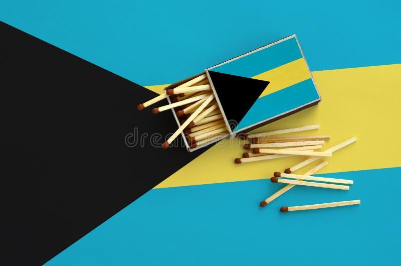 Η σημαία των Μπαχαμών παρουσιάζεται σε ένα ανοικτό σπιρτόκουτο, από το οποίο διάφορες αντιστοιχίες αφορούν και βρίσκονται μια μεγ στοκ φωτογραφία με δικαίωμα ελεύθερης χρήσης