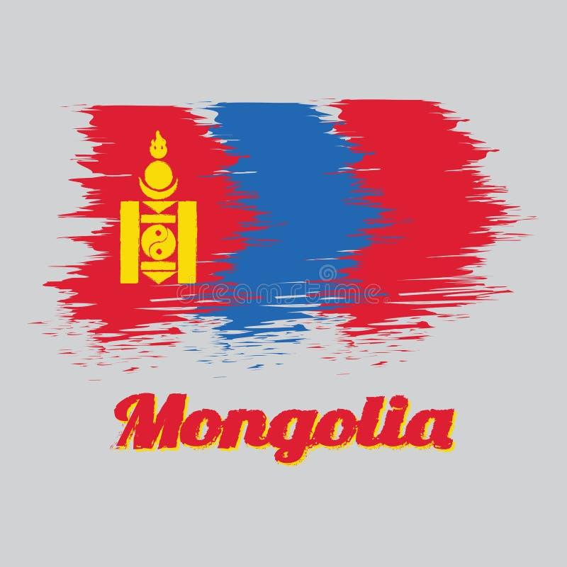 Η σημαία χρώματος ύφους βουρτσών της Μογγολίας, του κοκκίνου και του μπλε με το σύμβολο Soyombo στράφηκε στην ανελκυστήρας-πλευρά απεικόνιση αποθεμάτων