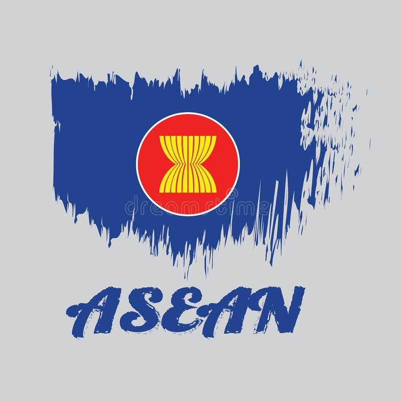 Η σημαία χρώματος ύφους βουρτσών της ASEAN, δέκα κίτρινοι ορυζώνας ή μίσχοι ρυζιού επισύρονται την προσοχή στη μέση στον μπλε τομ ελεύθερη απεικόνιση δικαιώματος