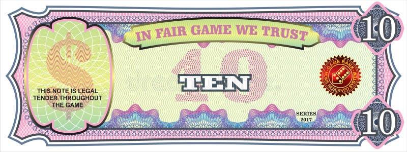 Η σημείωση για το οικονομικό παιχνίδι δολάρια δέκα απεικόνιση αποθεμάτων