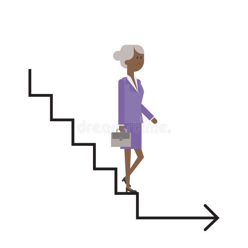Η σκάλα σταδιοδρομίας, η ηλικιωμένη κυρία κατεβαίνει τα σκαλοπάτια, businesswom απεικόνιση αποθεμάτων