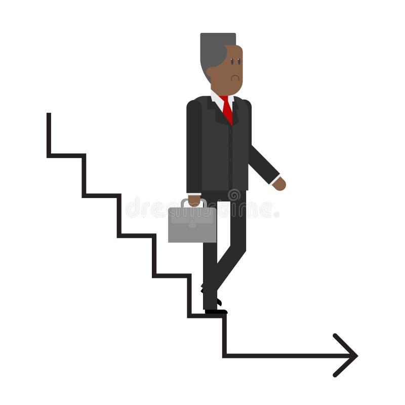 Η σκάλα σταδιοδρομίας, το ηλικιωμένο άτομο κατεβαίνει τα σκαλοπάτια, επιχειρησιακό άτομο απεικόνιση αποθεμάτων