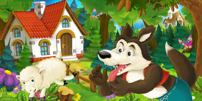 Η σκηνή κινούμενων σχεδίων με το ευτυχές και αστείο τρέξιμο προβάτων που πηδά κοντά στο αγροτικούς σπίτι και το λύκο κοιτάζει στο ελεύθερη απεικόνιση δικαιώματος