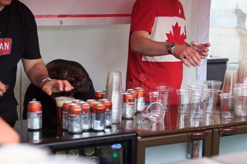 Η σκηνή μπύρας στον Καναδά ημέρα 2017 εορτασμοί στο Λονδίνο στοκ εικόνες