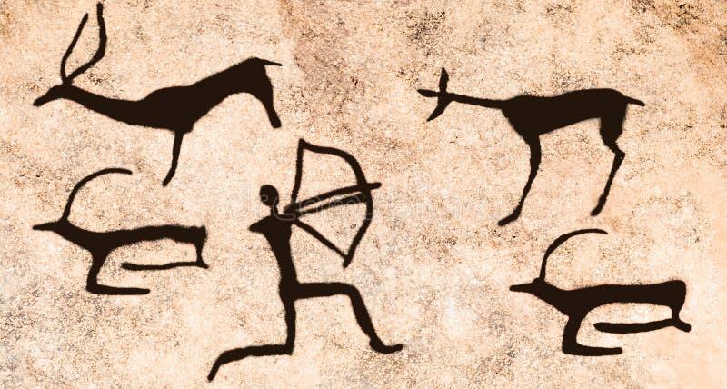 Η σκηνή του αρχαίου κυνηγιού ατόμων ` s στη σπηλιά στοκ εικόνα