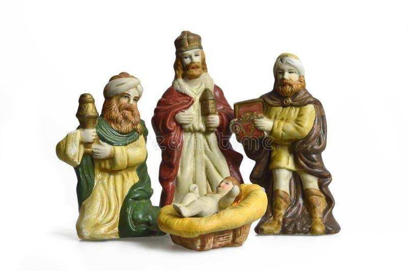 Η σκηνή nativity Χριστουγέννων με τρεις βασιλιάδες και μωρό Ιησούς απομόνωσε στο λευκό στοκ εικόνες με δικαίωμα ελεύθερης χρήσης