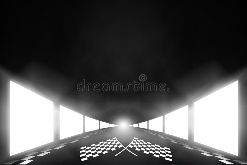Η σκηνική γραμμή τερματισμού χώρων του οδηγού απεικόνιση αποθεμάτων
