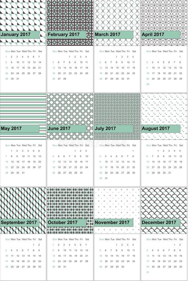 Η σκιά πράσινη και ο αυτοκράτορας χρωμάτισαν το γεωμετρικό ημερολόγιο το 2016 σχεδίων διανυσματική απεικόνιση