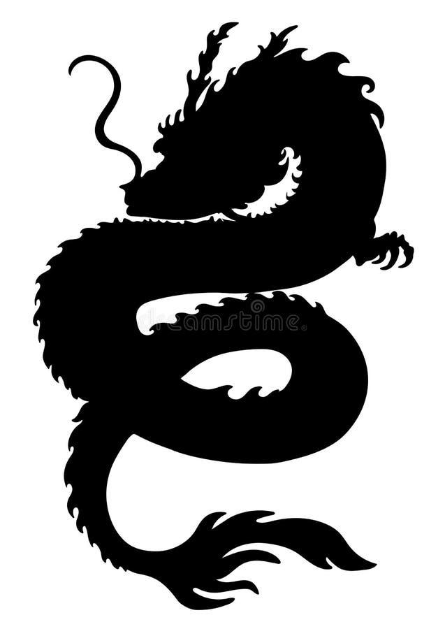 Η σκιαγραφία δράκων, μορφή φιδιών, εικονίδιο, λογότυπο, περιγράφει το γραπτό σχέδιο, διάτρητο, αυτοκόλλητη ετικέττα, λεπτομερής α ελεύθερη απεικόνιση δικαιώματος