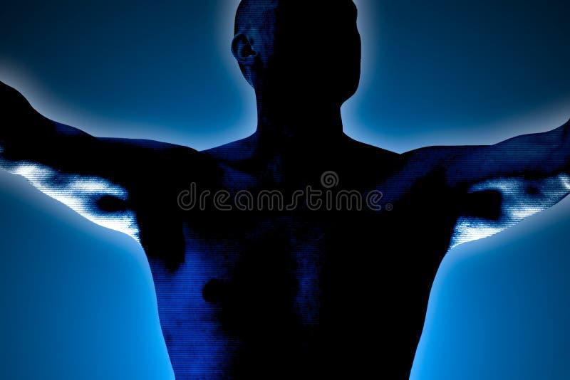 Η σκιαγραφία ενός ατόμου που λυγίζει τους μυς του και κάνει μια νίκη να κερδίσει θέτει στοκ φωτογραφία