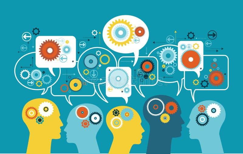 Η σκιαγραφία ενός κεφαλιού ατόμων ` s με την ομιλία βράζει, εργαλεία και busine ελεύθερη απεικόνιση δικαιώματος