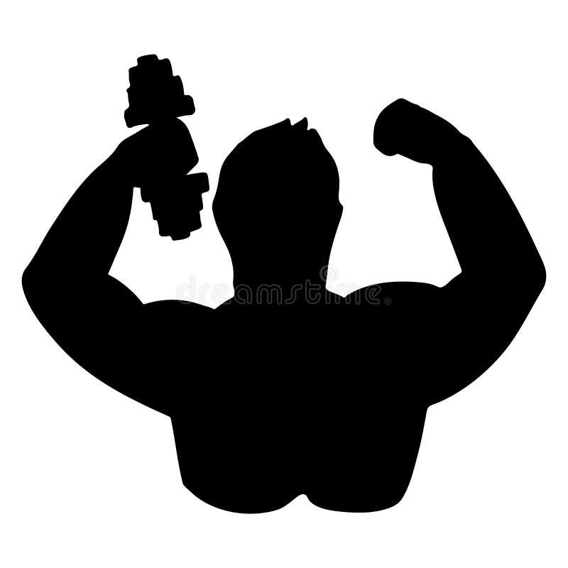 Η σκιαγραφία ενός bodybuilder με έναν αλτήρα ελεύθερη απεικόνιση δικαιώματος