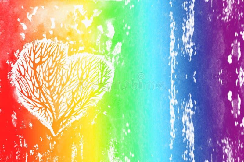 Η σκιαγραφία μιας καρδιάς με τα δέντρα μέσα, υπόβαθρο watercolor ουράνιων τόξων Ð ¡ olour του ουράνιου τόξου στοκ φωτογραφία με δικαίωμα ελεύθερης χρήσης