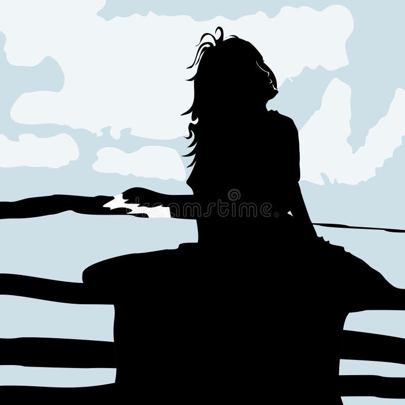 Η σκιαγραφία μικρών κοριτσιών απολαμβάνει το αεράκι παραλιών απεικόνιση αποθεμάτων