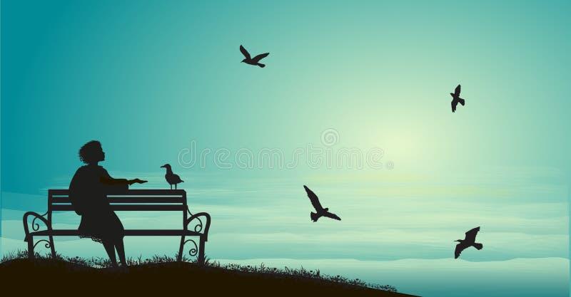 Η σκιαγραφία της συνεδρίασης κοριτσιών στον πάγκο κοντά στη θάλασσα με την ανατολή και ταΐζει τους γλάρους, σκιές, μνήμες, διανυσματική απεικόνιση