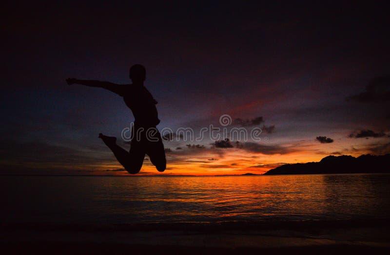 Η σκιαγραφία του ηλιοβασιλέματος παραλιών στοκ εικόνες