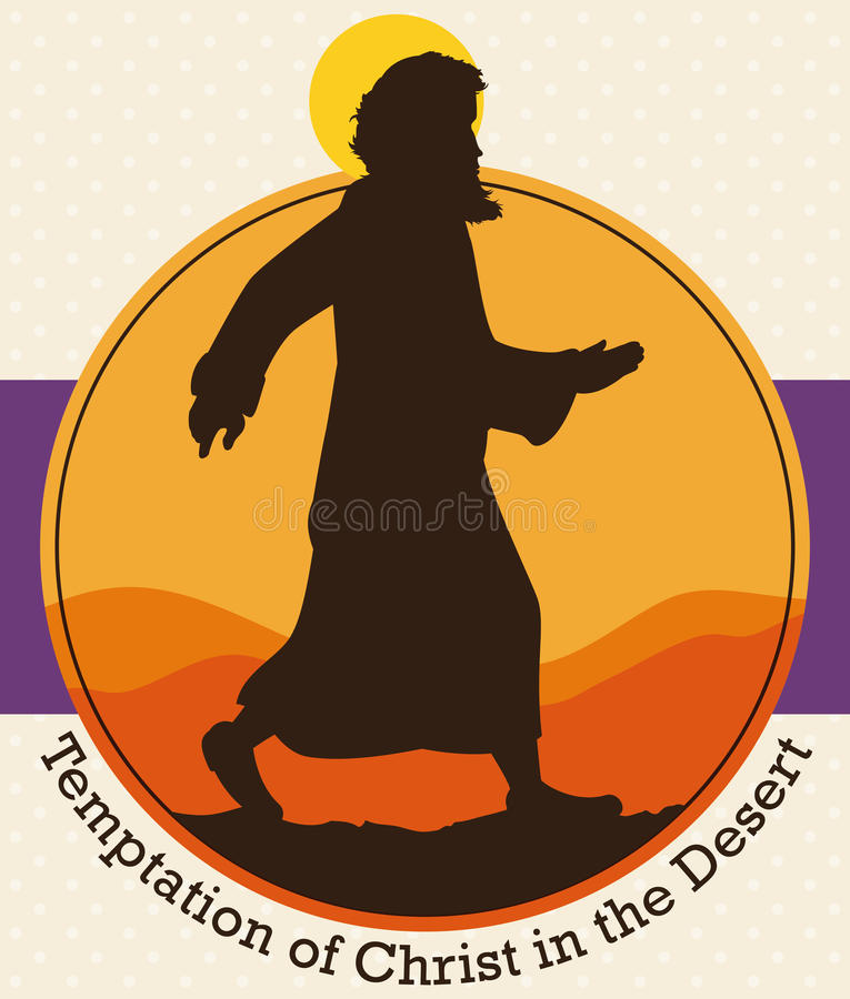 Η σκιαγραφία του Ιησούς Χριστού ` s πέρα από την έρημο για να τιμήσει την μνήμη δάνεισε την εποχή, διανυσματική απεικόνιση ελεύθερη απεικόνιση δικαιώματος
