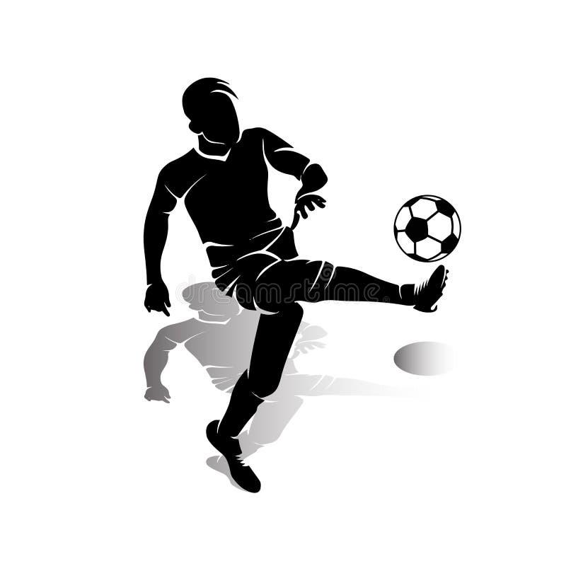 Η σκιαγραφία του ποδοσφαιριστή με τη σφαίρα κάνει ένα λάκτισμα, στη λευκιά ΤΣΕ διανυσματική απεικόνιση