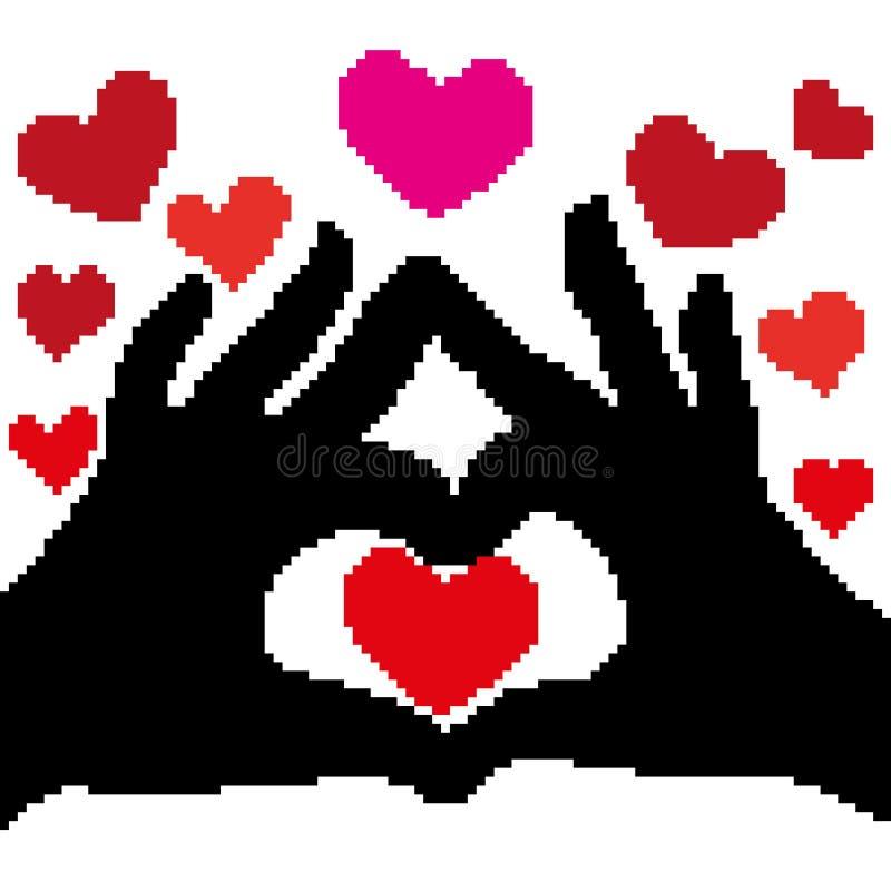 Η σκιαγραφία των φοινικών υπό μορφή καρδιάς είναι μαύρη και οι κόκκινες καρδιές μέσα και είναι γύρω χρωματισμένη με τα τετράγωνα απεικόνιση αποθεμάτων