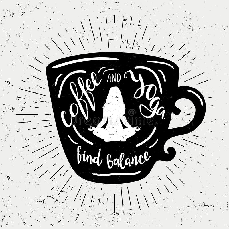 Η σκιαγραφία φλιτζανιών του καφέ με την εγγραφή του καφέ και η γιόγκα βρίσκουν την ισορροπία Χαριτωμένη και αστεία απεικόνιση με  απεικόνιση αποθεμάτων