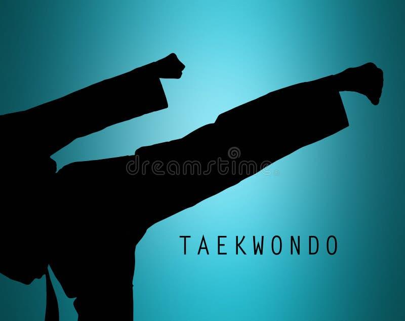 Η σκιαγραφία karate κατάρτισης ατόμων στοκ εικόνα με δικαίωμα ελεύθερης χρήσης