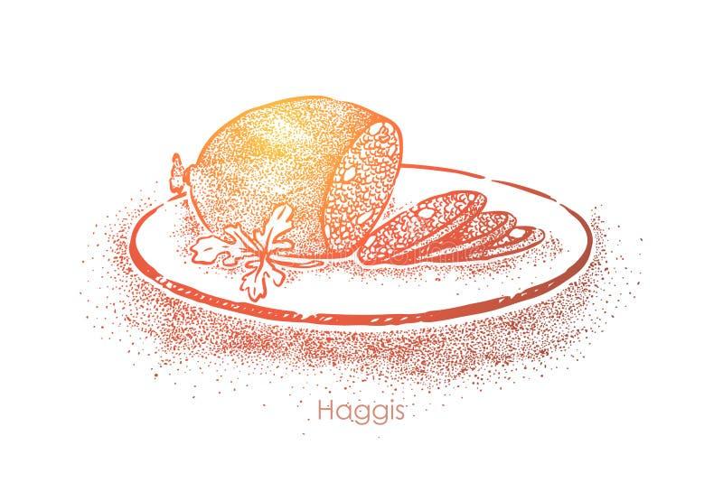 Η σκωτσέζικη λιχουδιά, πρόβειο κρέας κομματιάζει με το κρεμμύδι και το λίπος που μαγειρεύονται στο στομάχι αρνιών, παραδοσιακή κο ελεύθερη απεικόνιση δικαιώματος
