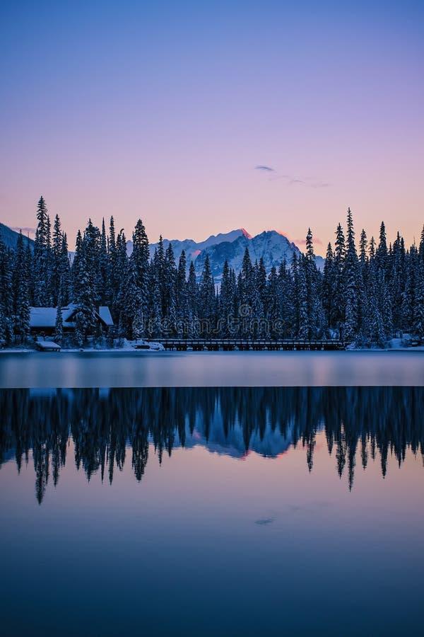 Η σμαραγδένια λίμνη κατοικεί το relfection, εθνικό πάρκο Yoho, Καναδάς στοκ φωτογραφίες