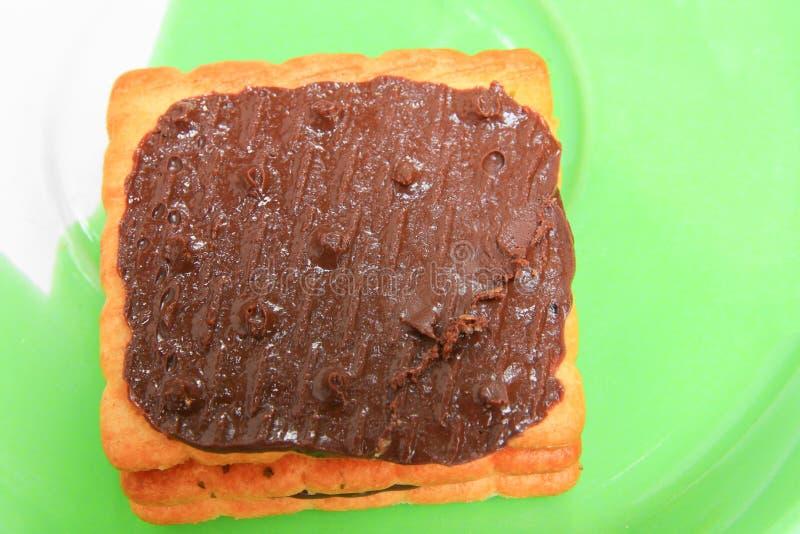 Η σοκολάτα στα μπισκότα πασπαλίζει την τετραγωνική μακρο εστίαση στο πιάτο με ψίχουλα στοκ φωτογραφία με δικαίωμα ελεύθερης χρήσης