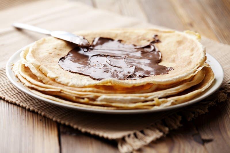 η σοκολάτα crepes στοκ εικόνες