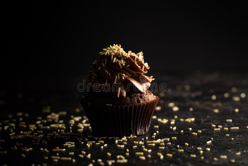 Η σοκολάτα Cupcake με ψεκάζει στοκ φωτογραφία