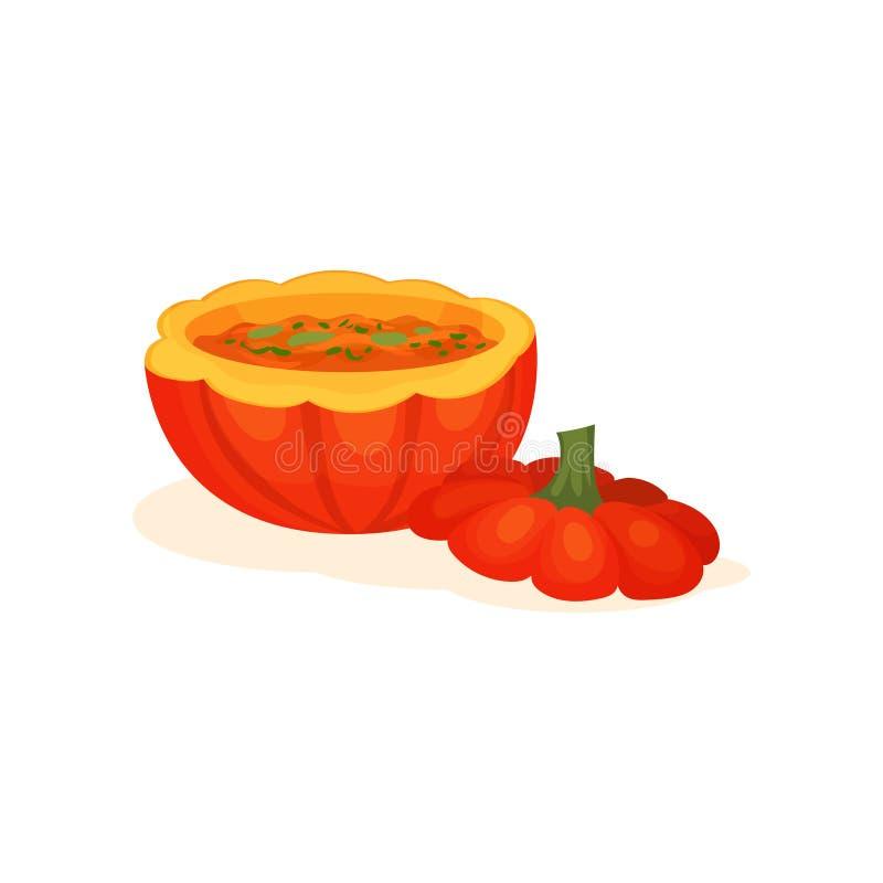 Η σούπα μέσα στο δοχείο μιας ώριμης κολοκύθας, εύγευστη κρεμώδης σούπα έκανε με τη φρέσκια διανυσματική απεικόνιση κολοκύθας σε έ απεικόνιση αποθεμάτων