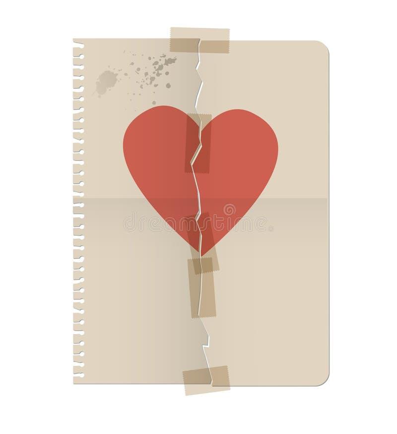Η σπασμένη καρδιά χρωμάτισε στο φύλλο ενός σημειωματάριου και επισκεύασε το πνεύμα ελεύθερη απεικόνιση δικαιώματος