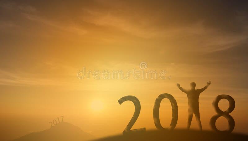 2018 η στάση ατόμων σκιαγραφιών στην κορυφή του βουνού και κοιτάζει throug στοκ εικόνα
