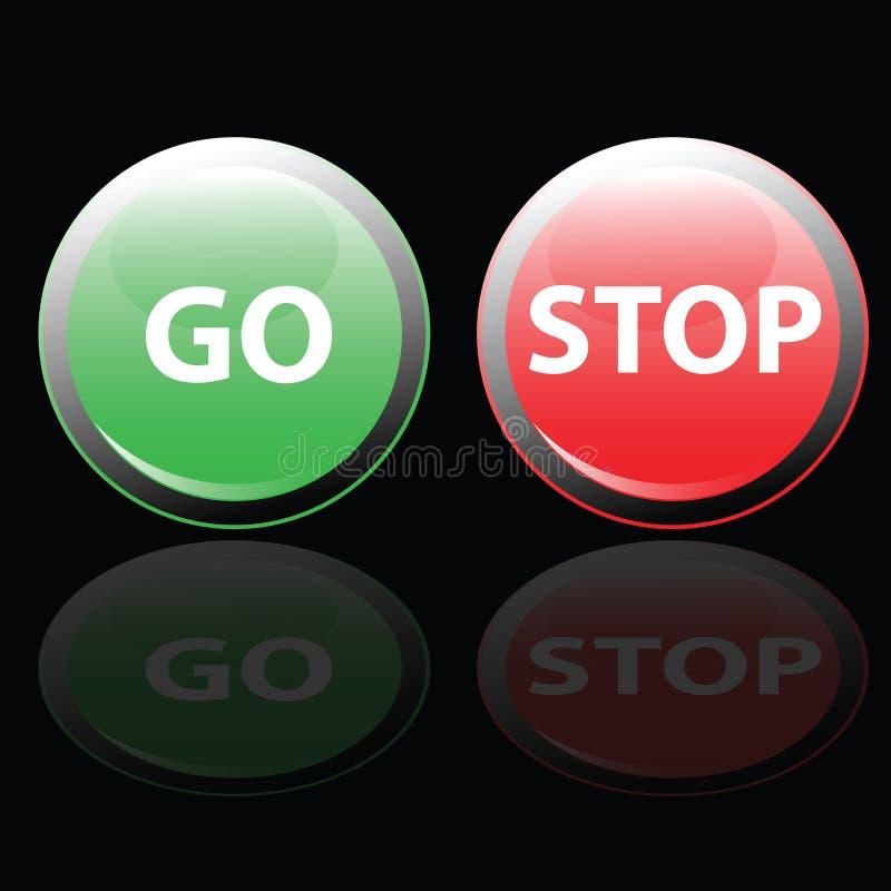 Η στάση και πηγαίνει διανυσματική απεικόνιση κουμπιών διανυσματική απεικόνιση