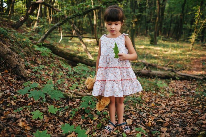 Η στάση κοριτσιών στα ξύλα που κρατούν ένα παιχνίδι αντέχει υπό εξέταση στοκ εικόνες με δικαίωμα ελεύθερης χρήσης