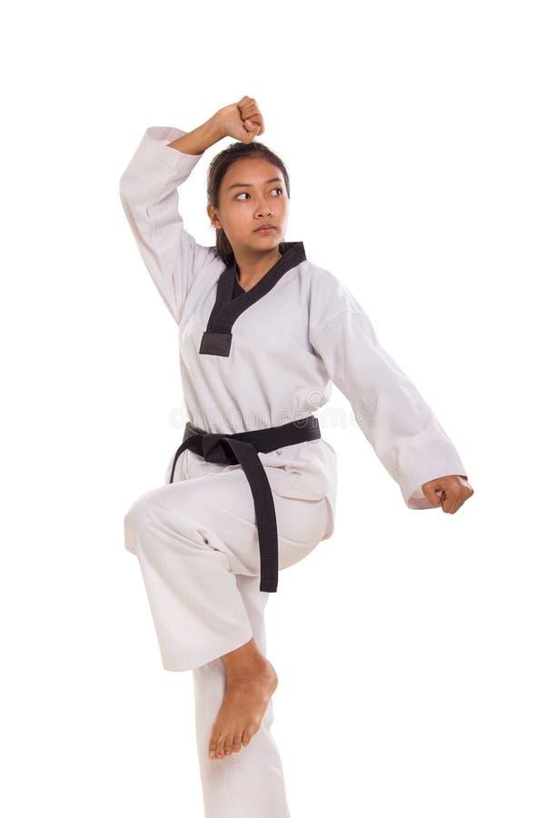 Η στάση κοριτσιών Taekwondo θέτει στοκ εικόνες με δικαίωμα ελεύθερης χρήσης