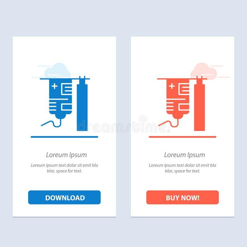 Η σταλαγματιά, το νοσοκομείο, ιατρικός, η επεξεργασία μπλε και το κόκκινο μεταφορτώνουν και αγοράζουν τώρα το πρότυπο καρτών Widg ελεύθερη απεικόνιση δικαιώματος