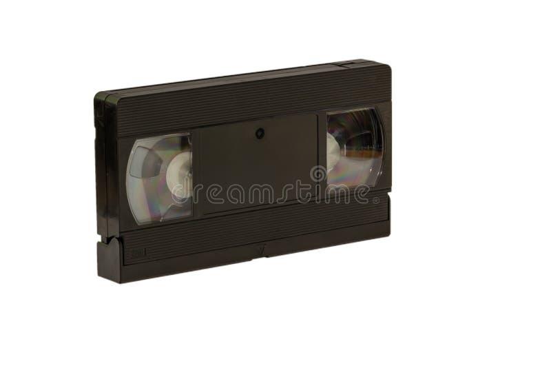 η στενή εικόνα κασετών ανασκόπησης απομόνωσε επάνω το τηλεοπτικό λευκό VHS στοκ εικόνες