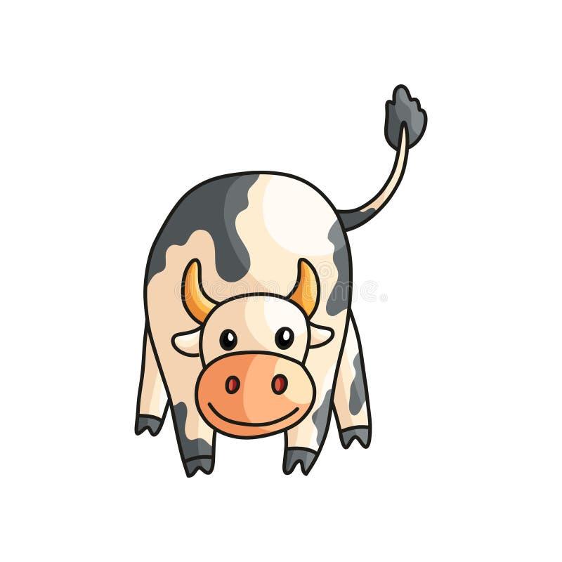 Η στενή ευθεία άποψη του αστείου χαμόγελου επισήμανε την αγελάδα με την ουρά που απομονώθηκε επάνω στο λευκό απεικόνιση αποθεμάτων