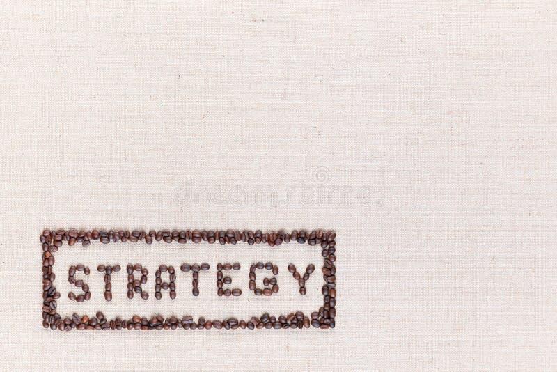 Η στρατηγική λέξης μέσα σε ένα ορθογώνιο όλα τα γίνοντα χρησιμοποιώντας φασόλια καφέ που βλασταίνονται άνωθεν, ευθυγραμμισμένος σ στοκ εικόνα με δικαίωμα ελεύθερης χρήσης