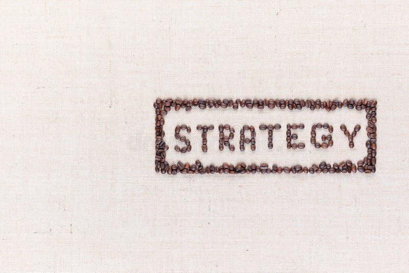 Η στρατηγική λέξης μέσα σε ένα ορθογώνιο όλα τα γίνοντα χρησιμοποιώντας φασόλια καφέ που βλασταίνονται άνωθεν, ευθυγραμμισμένος σ στοκ φωτογραφία με δικαίωμα ελεύθερης χρήσης