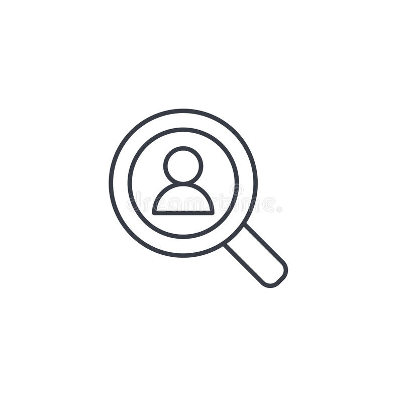 Η στρατολόγηση, επαναλαμβάνει την αναζήτηση, εργασία, που επιλέγει το εικονίδιο γραμμών προσωπικού λεπτά Γραμμικό διανυσματικό σύ διανυσματική απεικόνιση