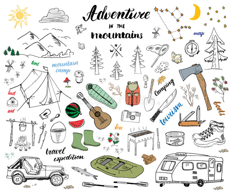 Η στρατοπέδευση, συρμένο χέρι σκίτσο πεζοπορίας doodle έθεσε τη διανυσματική απεικόνιση με τα βουνά, τη σκηνή, το σύνολο, τη σχάρ διανυσματική απεικόνιση