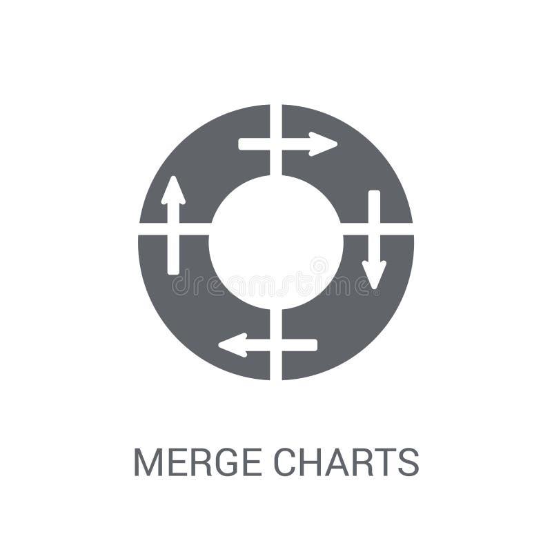Η συγχώνευση σχεδιάζει το εικονίδιο Καθιερώνουσα τη μόδα έννοια λογότυπων διαγραμμάτων συγχώνευσης στη λευκιά ΤΣΕ ελεύθερη απεικόνιση δικαιώματος