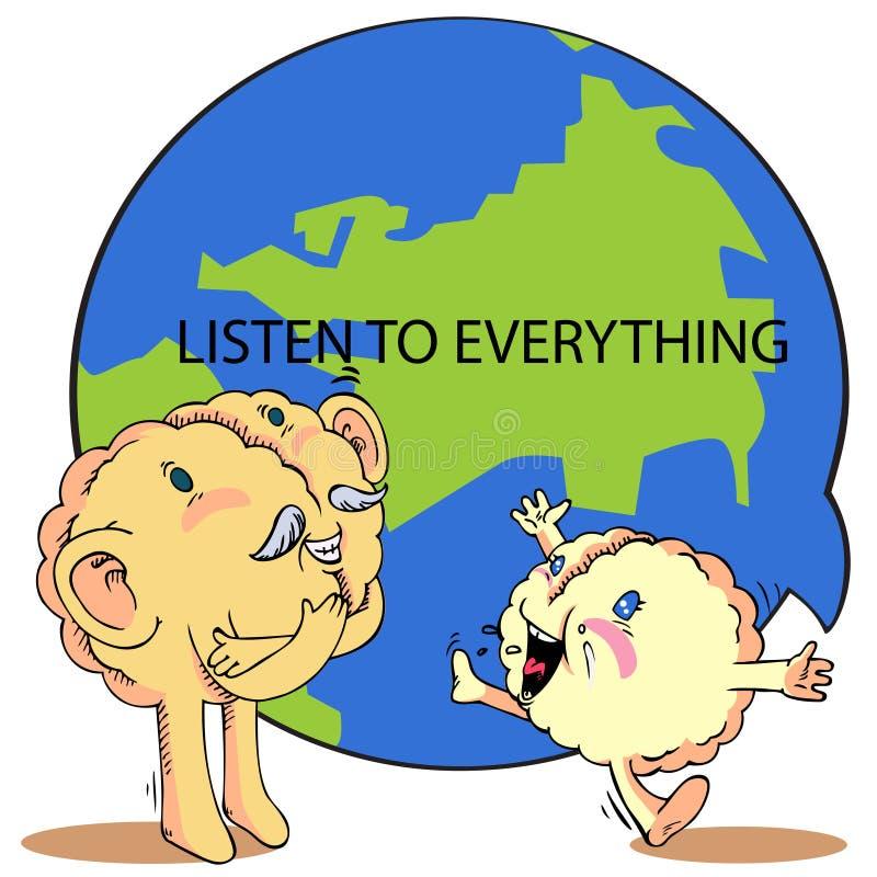Η συζήτηση και ακούει για να υποκινήσει τον εγκέφαλο διανυσματική απεικόνιση