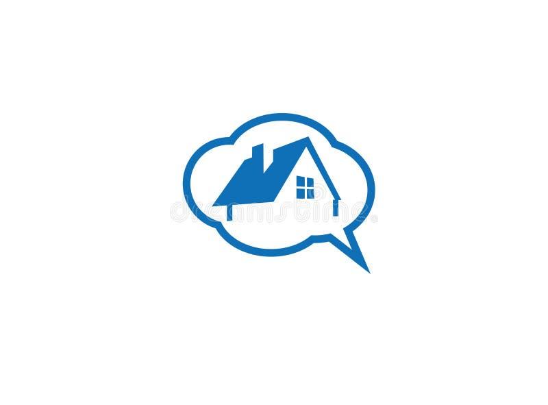 Η συζήτηση και σκέφτεται για το σπίτι των ονείρων για το λογότυπο διανυσματική απεικόνιση