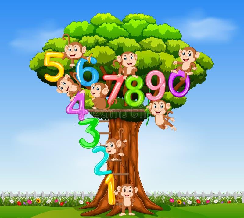 Η συλλογή αριθμός 0 μέχρι 9 με τον πίθηκο στο δέντρο ελεύθερη απεικόνιση δικαιώματος