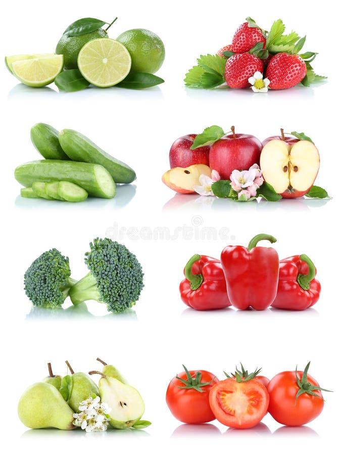 Η συλλογή λαχανικών φρούτων απομόνωσε τους νωπούς καρπούς χρωμάτων πιπεριών κουδουνιών φραουλών ντοματών μήλων μήλων στοκ φωτογραφίες με δικαίωμα ελεύθερης χρήσης