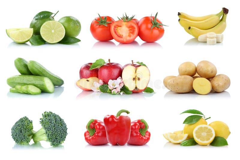 Η συλλογή λαχανικών φρούτων απομόνωσε τους νωπούς καρπούς χρωμάτων πιπεριών κουδουνιών μπανανών ντοματών μήλων μήλων στοκ φωτογραφίες